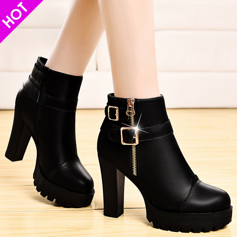 New Spring, Autumn, Winter, High-heeled, Rough-heeled, Baitie-net, Red and Autumn Shoes, Boots and Suede Leather Shoes, Women's Shoes