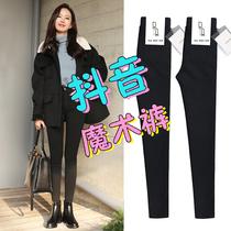Magie noir Plus Cachemire leggings pantalon porter mince modèles printemps et automne et dhiver pieds 2019 nouvelle taille haute était mince sauvage
