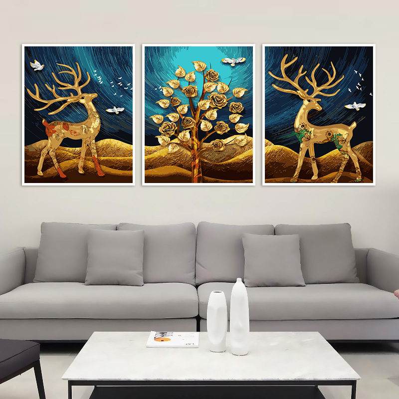 Ningbo Digital Oil Painting Diy Triple Painting with Hand Painting and Decoration Painting Living Room Landscape Flower Triple Painting