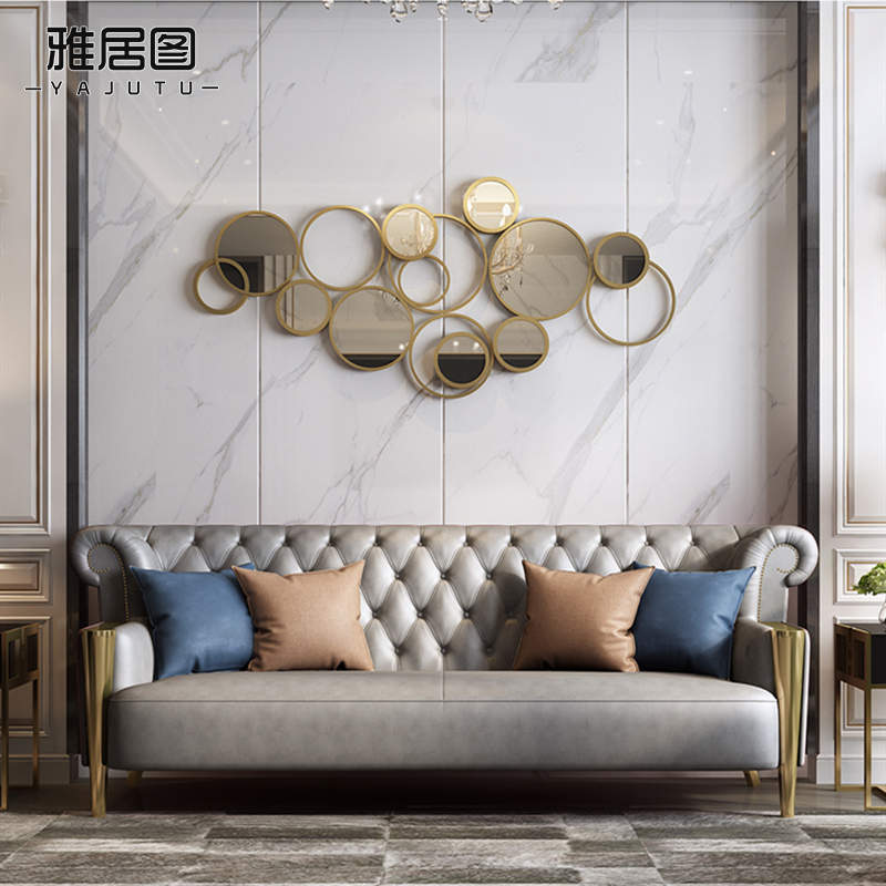 Hong Kong-style light luxury sofa background wall decorative pendant Home soft wall decorative mirror metal decorative pendant