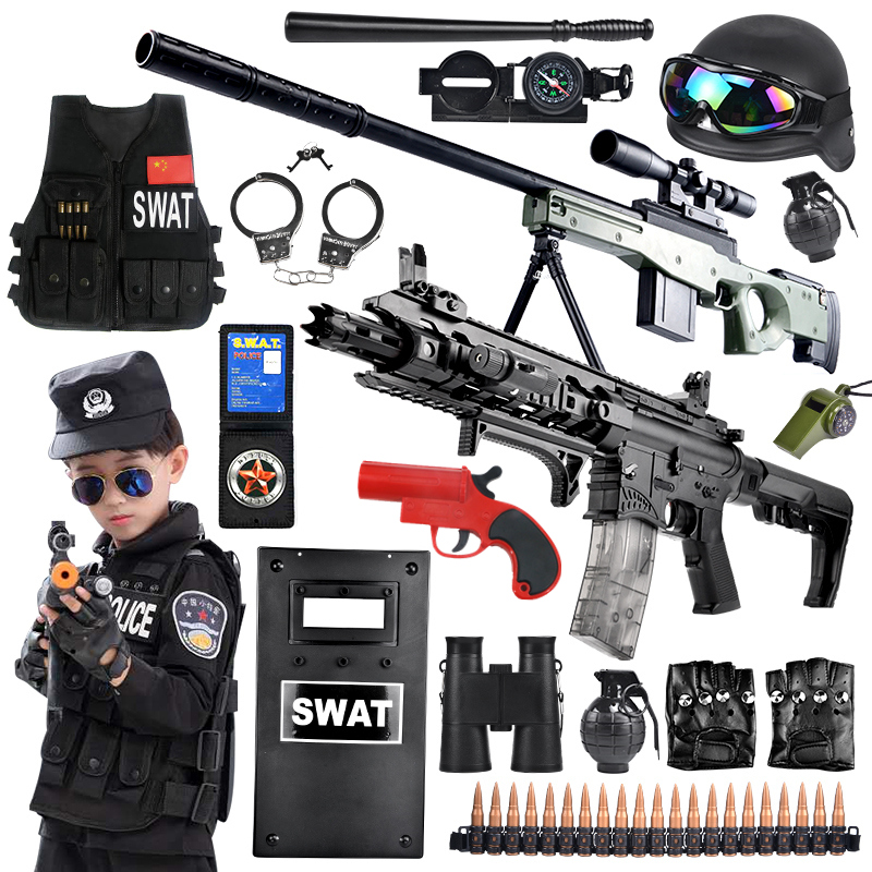 Children's policemen complete set of water bullet gun special soldier small special police clothing for boys to eat chicken toys sniper gun clothes