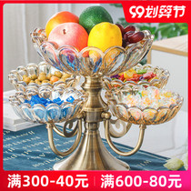 European crystal glass multi-layer net red fruit plate Nordic family living room coffee table creative light luxury snack candy plate