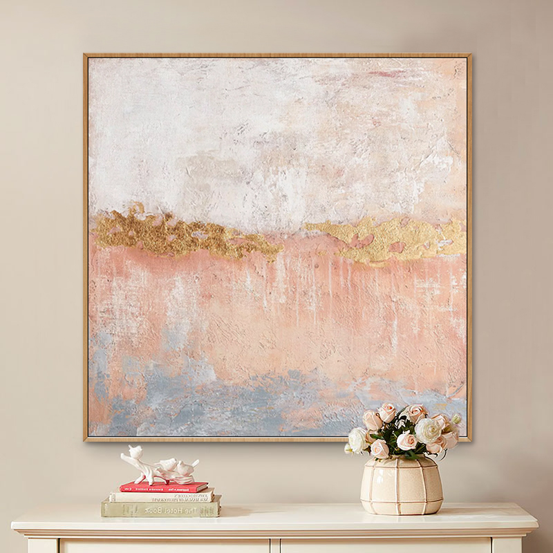 Hand-painted abstract oil painting living room porch Nordic abstract light pink gold foil restaurant large hanging decorative paintings
