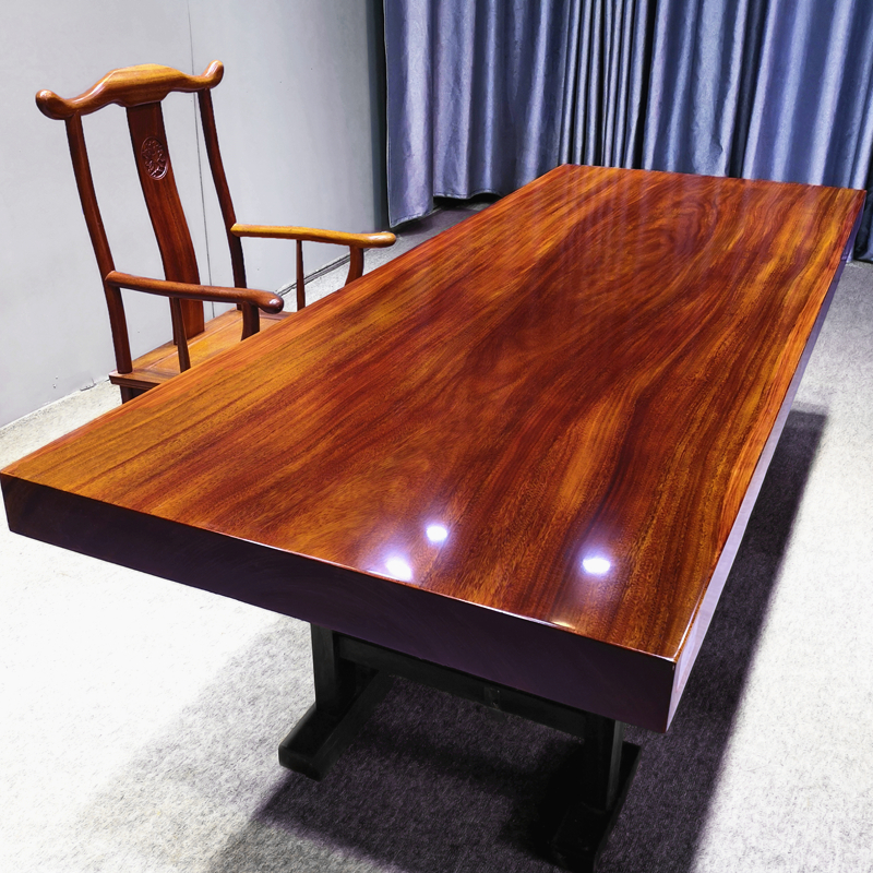 Okan solid wood large board wood tea table desk tea board table and chair combination book tabletop bar flower new Chinese simplicity