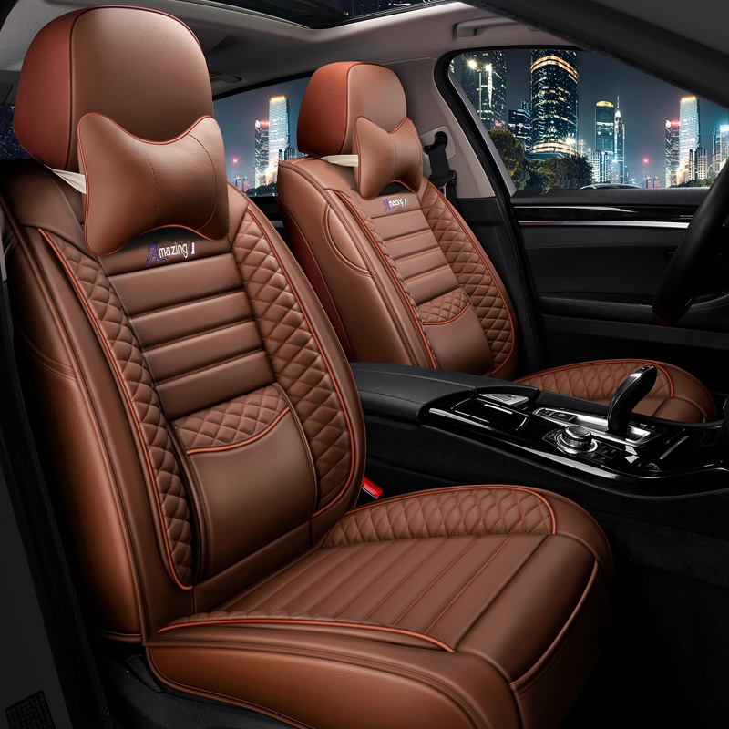 Car seat cover new four-season general-purpose car leather seat cushion spring and summer car seat set fully surrounded by ice wire special cushions