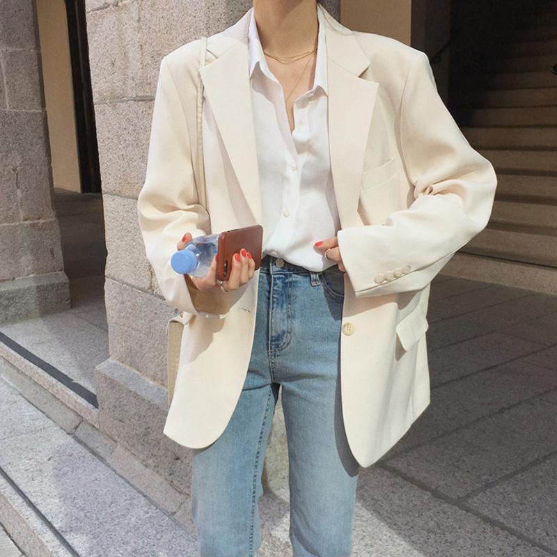 2021 spring and autumn new online red fried street white blazer women loose explosive suit design sense niche thin
