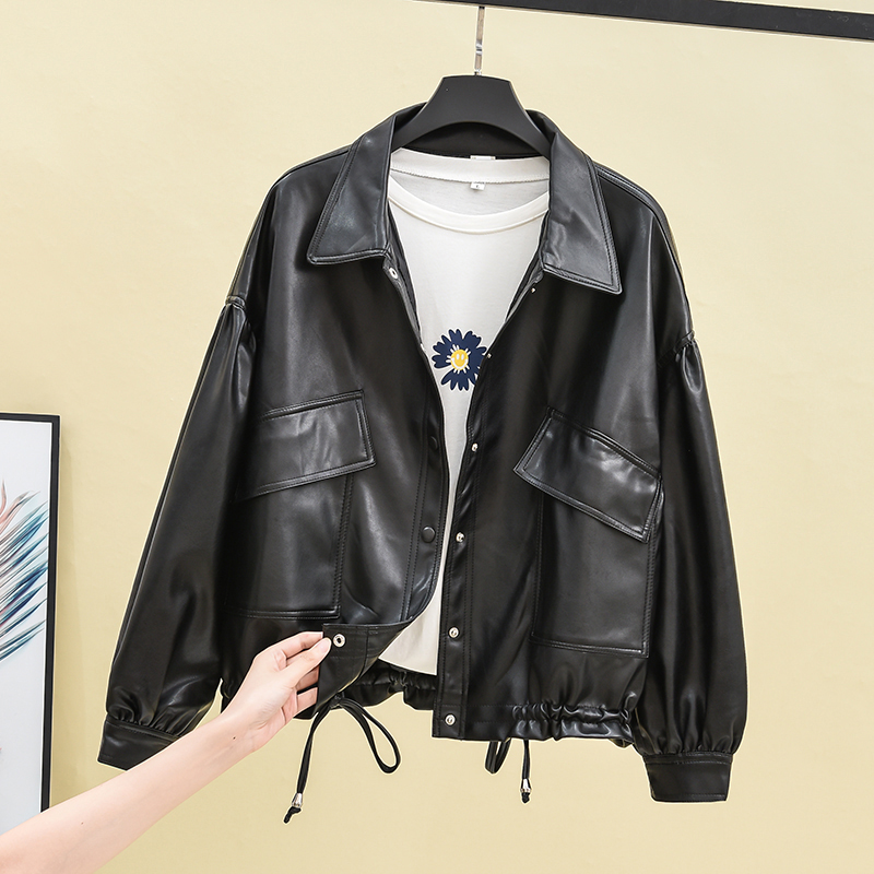 Leather jacket womens short autumn and winter locomotive small leather korean version of loose fashion fashion jacket