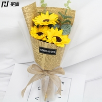 Teachers Day surprise small gift simulation carnation soap flower delivery teacher mother sunflower Rose Soap bouquet
