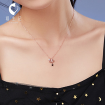 Planet necklace female sterling silver temperament simple ins niche design clavicle chain tide Network Red Star Moon jewelry send girlfriend