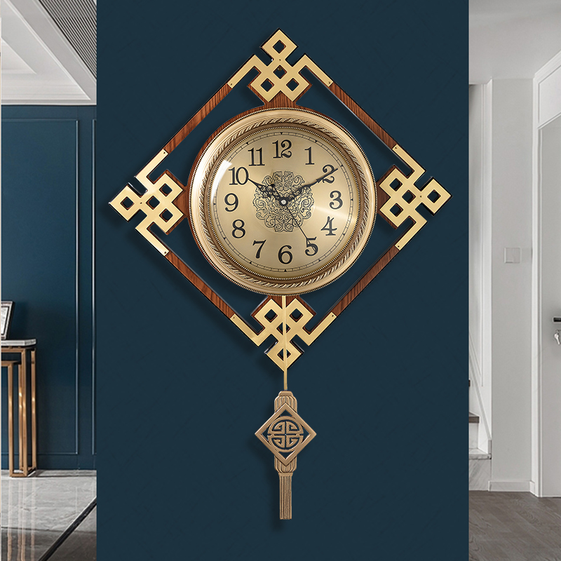 New Chinese pure copper wall clock light luxury hanging watch living room wall clock home Chinese wind atmosphere fashion airwa 錶