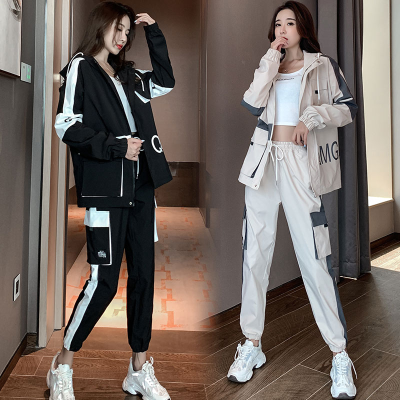 Sports suit womens long-sleeved spring dress 2021 new casual loose fashion trend brand middle school students workwear two-piece set