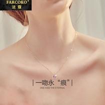 FARCOKO necklace Female Collarbone chain set Swarovski simple pendant birthday gift to girlfriend