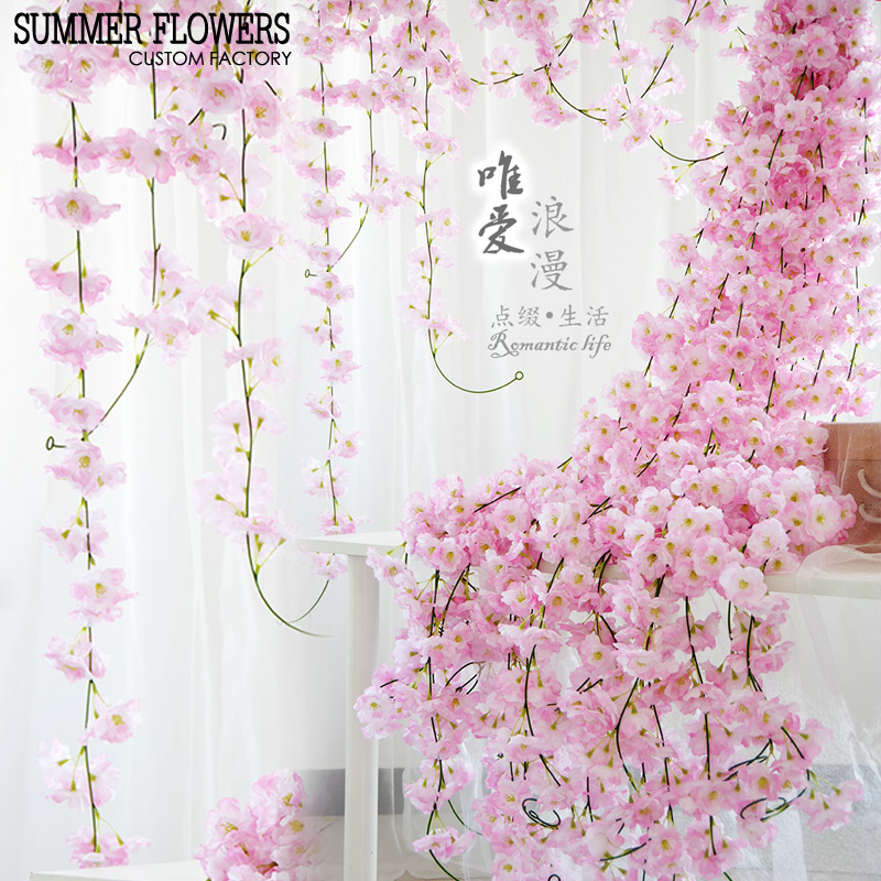 Simulated cherry blossom vine air-conditioning tube roof rattan roof suspended ceiling wall flower hanging decorative plastic string flower pipe hanging