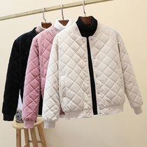 Golden velvet cotton coat women 2021 Winter New thick coat baseball uniform Joker cotton jacket short cotton coat