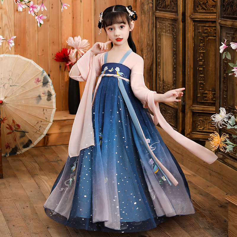 Childrens han clothes Girls ancient dress Super fairy spring and autumn Chinese style tulle dress Elegant summer short sleeve girl Tang dress