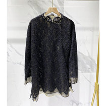 2020 new loose-fitting thin top female patterned stifled stifled hollow lace long-sleeved Chinese grandma shirt coat girl