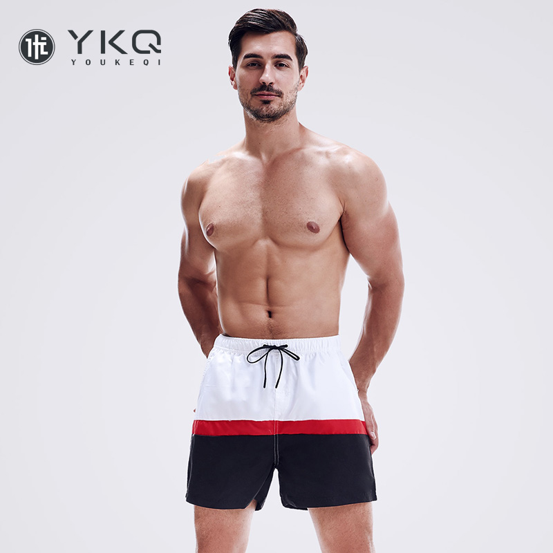 Colored quick dry beach pants mens fitness sports quarter shorts lined with beach holiday hot spring swimming trunks