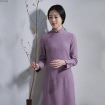 Fresh literature and art purple wool Chinese style Chinese wind back to the ancient cheongsam
