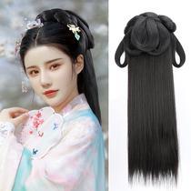 Ancient Hanfu wig One-piece hair band Hair bag bun Lazy costume modeling Song and Ming headdress Full headgear