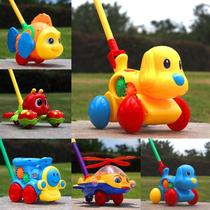 Childrens trolley toys one-year-old baby toddle boy girl trolley push plane push music bell wink.