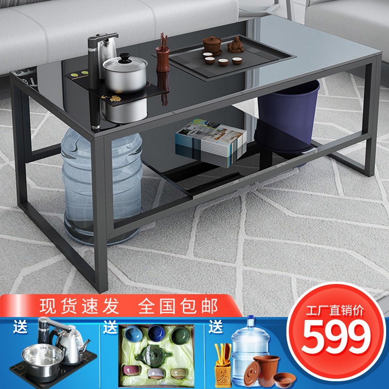 Tempered glass kung fu coffee table simple living room home small household tea fire stone tea table tea belt induction cooker