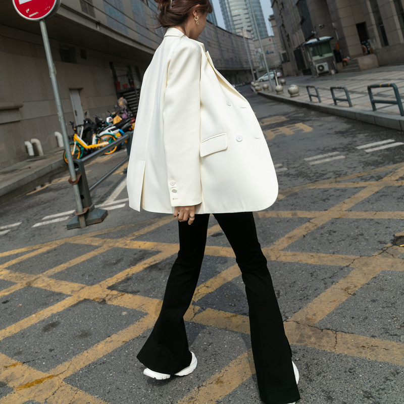 Spring and autumn 2021 new high-end sense white suit jacket women thin design sense niche casual small suit top