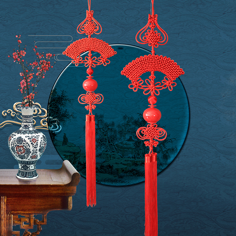 Chinese knot pendant living room decoration large-scale transport trend such as Hong Ping An caicai Xuanguan with red porcelain to send foreigners Chinese wind