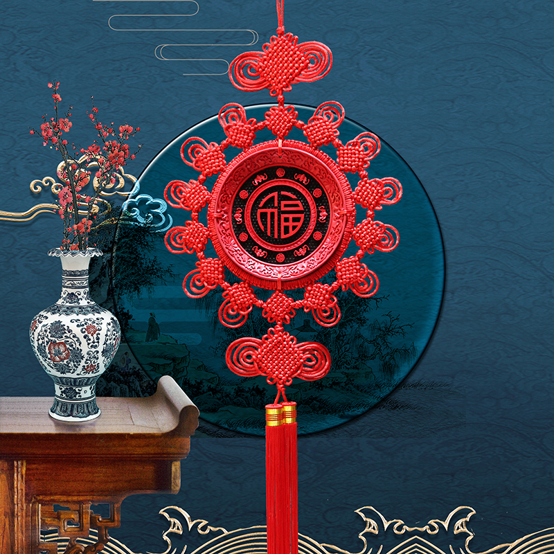 Tianyi Ji Zhu sand paint carving Chinese knot large Dragon Feng Wufu living room Xuanguan TV wall bedroom feng shui pendant