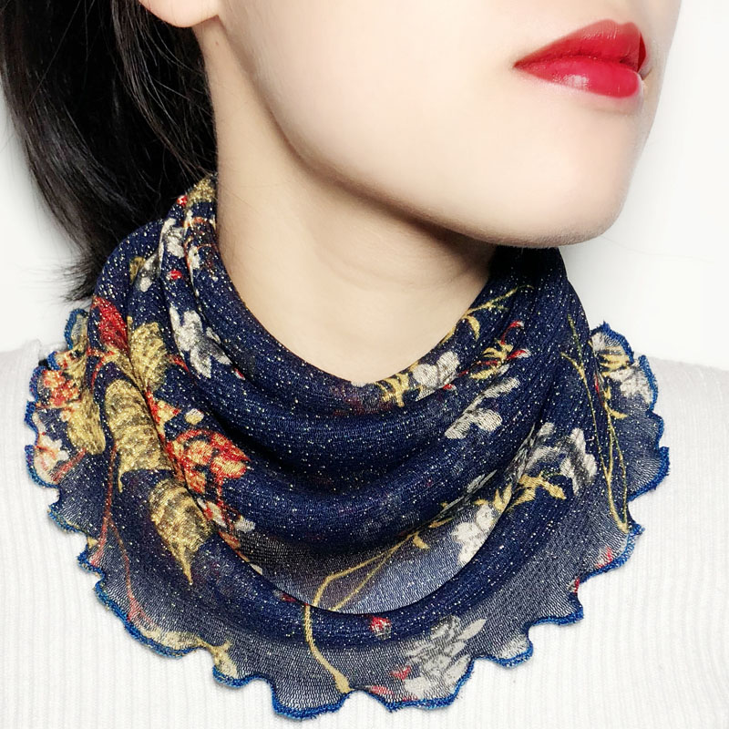 Spring and summer head neck guard neck square dance scarf thin small silk scarf neck ring winter female neck veil scarf