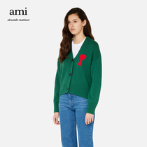 Ami Paris lady 21 early autumn new Ami de Coeur Red love embroidered cardigan sweater