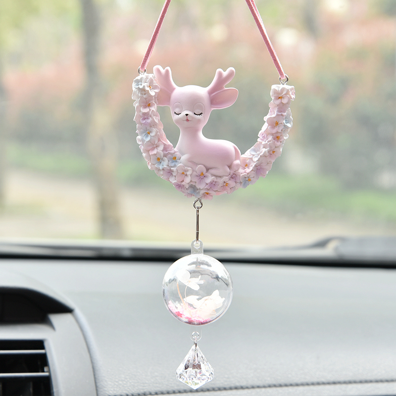 2021 new car pendant all the way safe car rearview mirror pendant ornament cute fawn pendant interior decoration woman