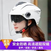 Battery electric car helmet summer double mirror sun protection four seasons general men and women motorcycle half helmet riding helmet