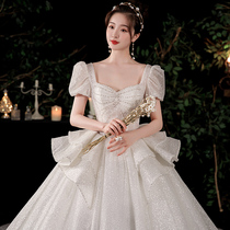 French main wedding dress 2021 New temperament bride summer small high-end pregnant women thin Starry Sky Super fairy tail