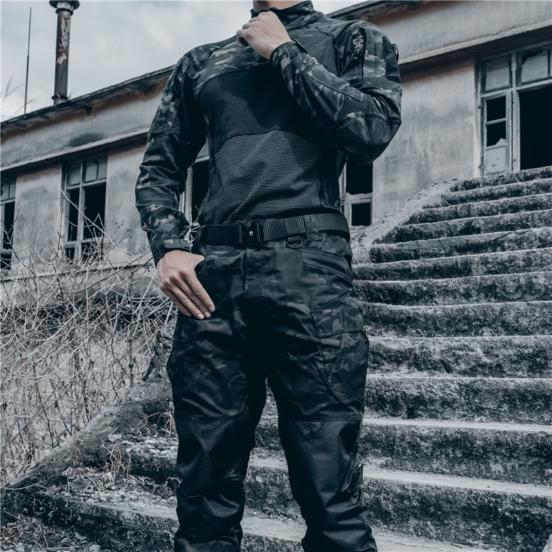 Mens outdoor tactical camouflage pants slim casual climbing waterproof foot protection work suit anti-dirty wear