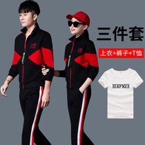 mbk1anta1kbn Couple Sports Set Spring and Autumn Long Sleeve Womens Casual Three Piece Couple Edition Mens Set