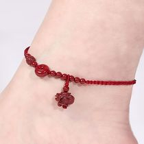 The twelve Zodiac natural cinnabar simple sexy red rope anklet evil transshipment this year hand-woven adjustable