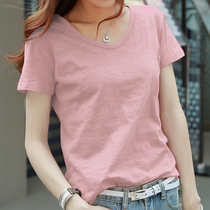 2018 new short-sleeved female summer student loose Korean version of the solid color bamboo cotton pink t-shirt female cotton wild blouse
