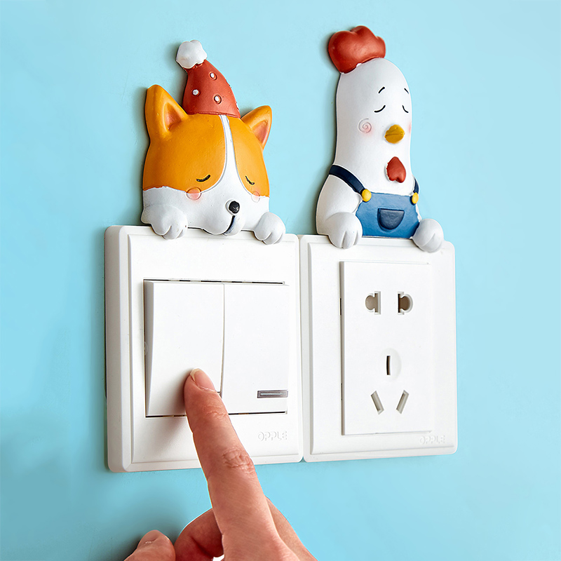 Ins creative switch sticking wall cute animal decoration living room small refreshing household socket switch sleeve