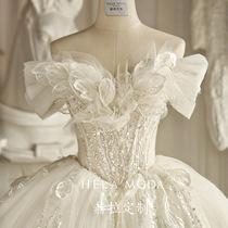 Hera customflower language2021 new Forest department one-word shoulder thin sweet dream bride tail wedding dress