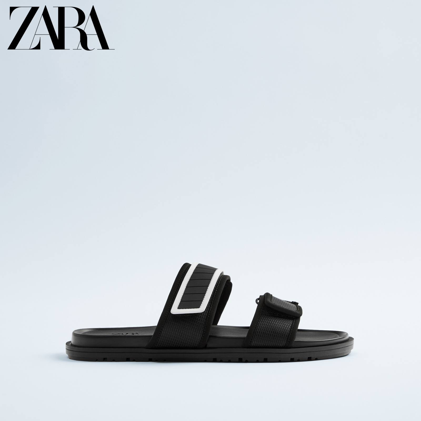 Zara new men's shoes black double belt decorated sandals 12718520040