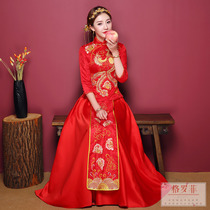 Grofe chinese wedding show wo dress bridal gown wedding marriage Dragon Coat costume toast 2018 New