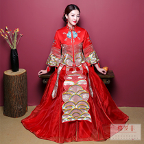 Bridal Chinese dress 2018 new show wo dress bridal gown wedding dresses dress up dragon gown Autumn