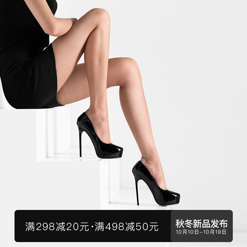 Fabei spring and summer new sexy super high-heeled shoes leather shallow mouth single shoes European and American fashion patent leather shoes simple