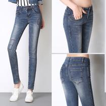 Odie cigarette gray tight elastic show thin Korean pencil pants