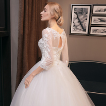 Trailing spring and autumn a word shoulder thin princess wedding dress