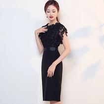 Thin Black Banquet Korean version lace birthday party evening Dress