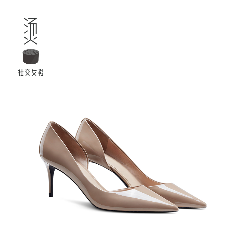 Hot Social Women's Shoes 2019 New Summer Bare Painted High-heeled Shoes Sexy Side-free Commuter Single-heeled Sandals