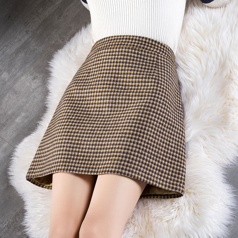 High waist plaid a-line skirt female autumn and winter retro plaid half skirt woolen short skirt new all-match skirt skirt