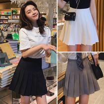 Black pleated skirt womens summer skirt winter a gray white high waist 2021 New jk skirt spring and autumn