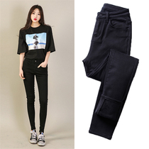 Black plus velvet high waist small feet nine-point jeans women 2021 new autumn and winter small man thick thick and thin